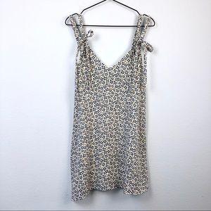 Zara • White Floral Print Tie Strap Mini Sun Dress